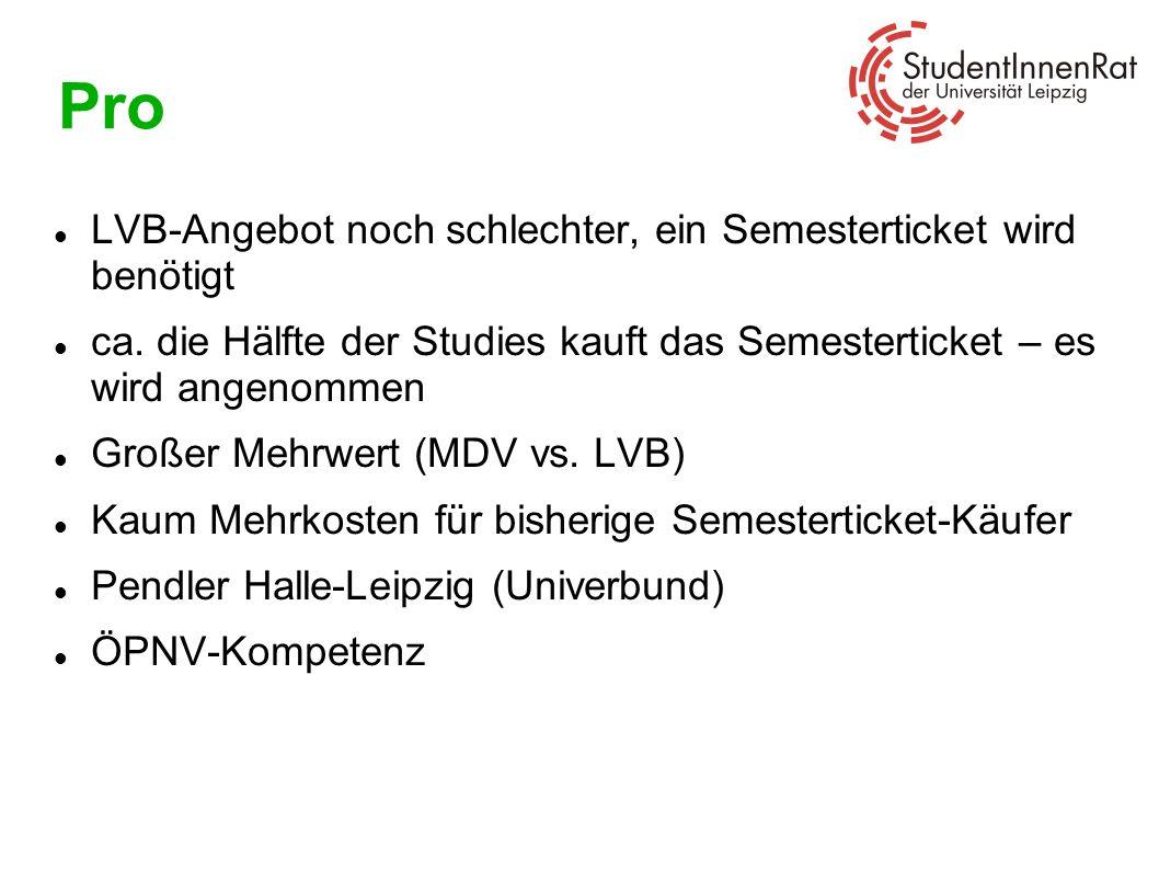 Pro LVB-Angebot noch schlechter, ein Semesterticket wird benötigt