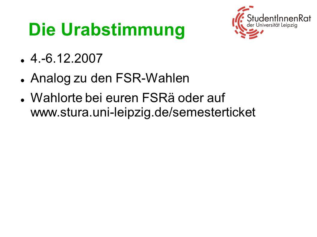 Die Urabstimmung 4.-6.12.2007 Analog zu den FSR-Wahlen