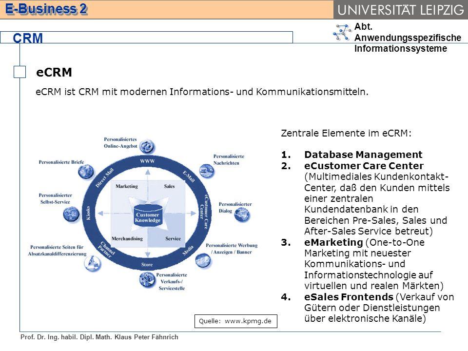 CRMeCRM. eCRM ist CRM mit modernen Informations- und Kommunikationsmitteln. Quelle: www.kpmg.de. Zentrale Elemente im eCRM: