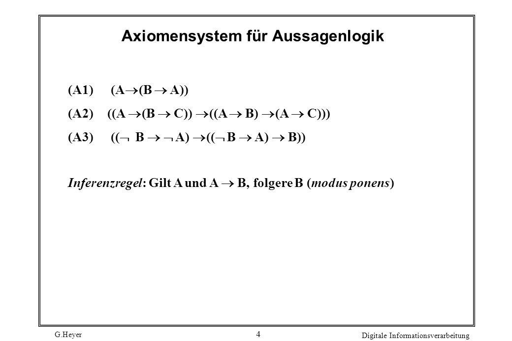 Axiomensystem für Aussagenlogik