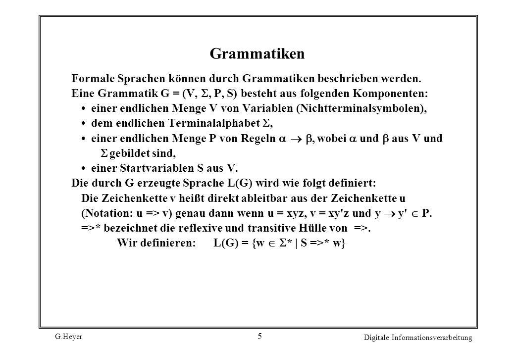 Grammatiken Formale Sprachen können durch Grammatiken beschrieben werden. Eine Grammatik G = (V, , P, S) besteht aus folgenden Komponenten: