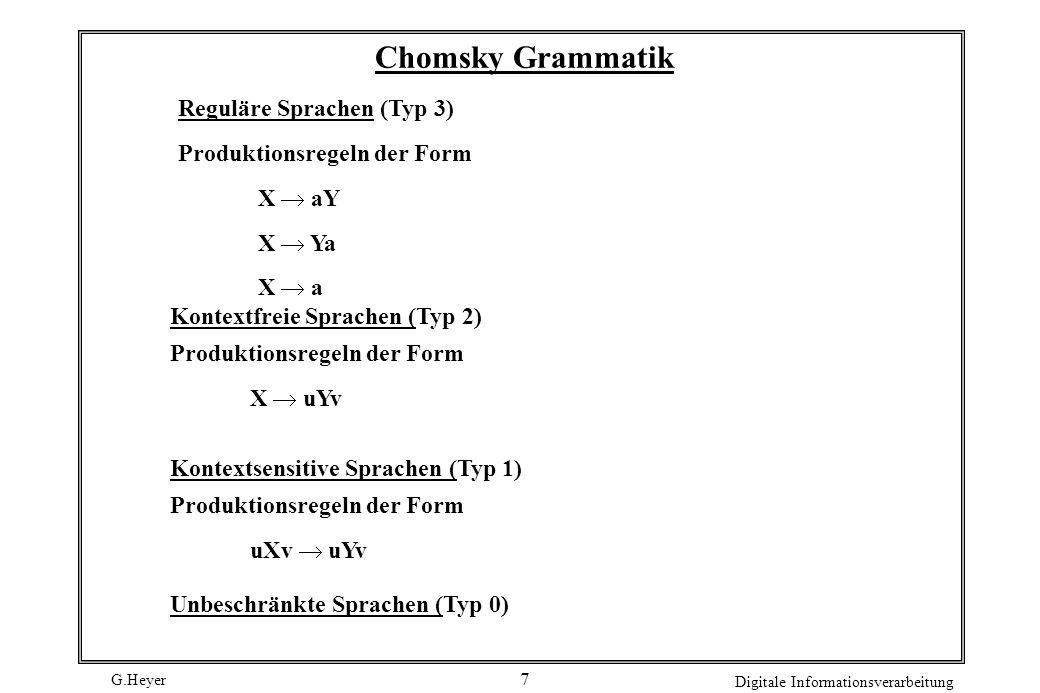Chomsky Grammatik Reguläre Sprachen (Typ 3) Produktionsregeln der Form
