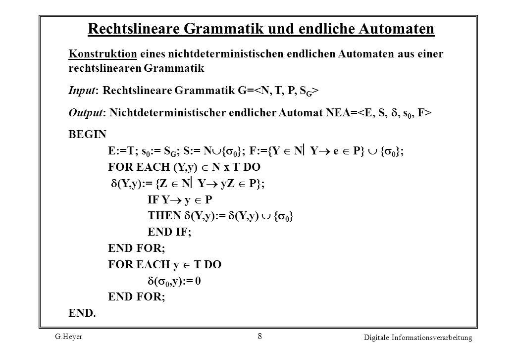 Rechtslineare Grammatik und endliche Automaten