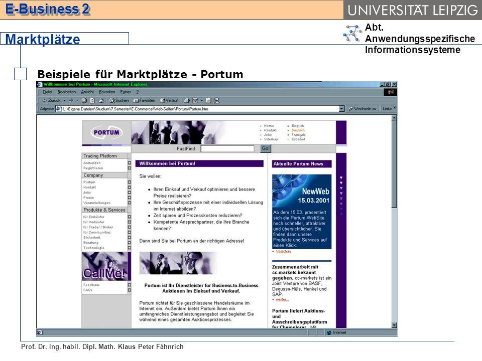 Marktplätze Beispiele für Marktplätze - Portum