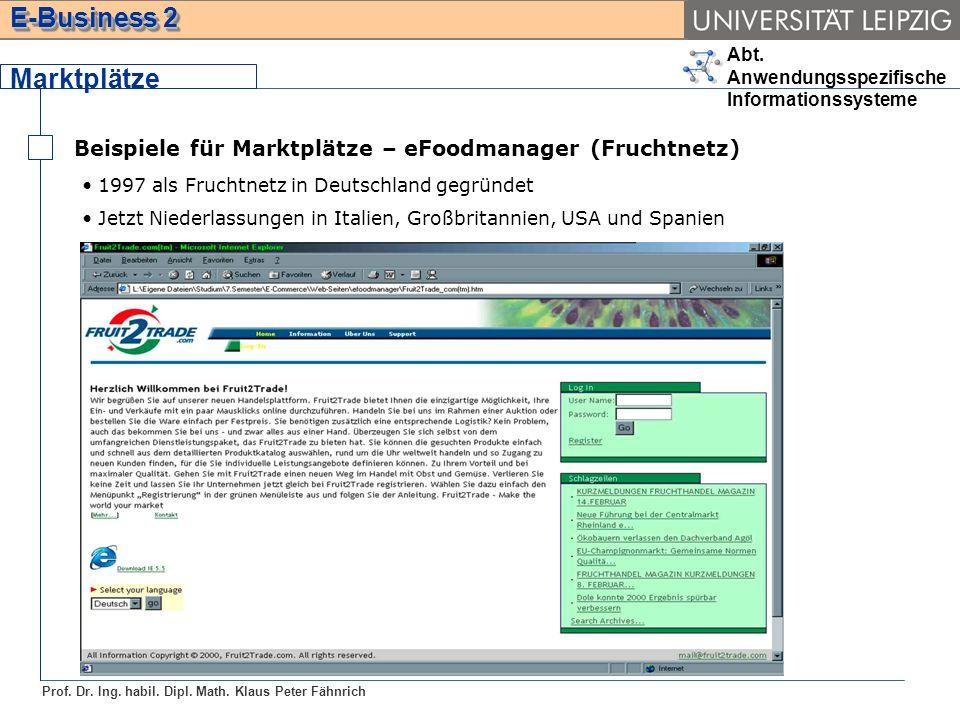 Marktplätze Beispiele für Marktplätze – eFoodmanager (Fruchtnetz)