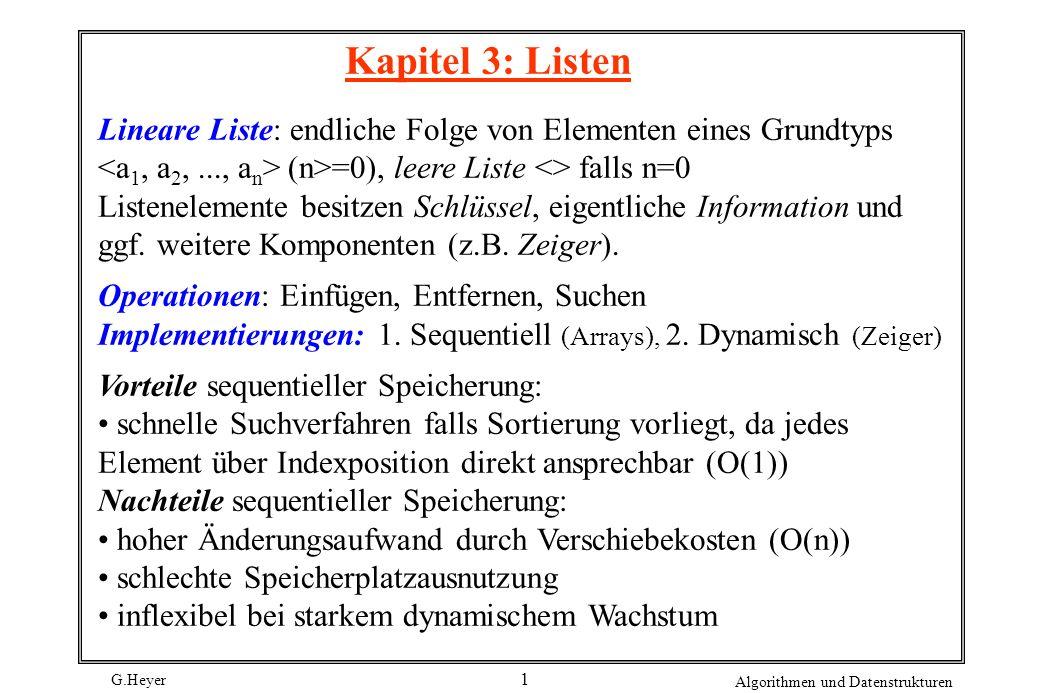 Kapitel 3: Listen Lineare Liste: endliche Folge von Elementen eines Grundtyps <a1, a2, ..., an> (n>=0), leere Liste <> falls n=0.