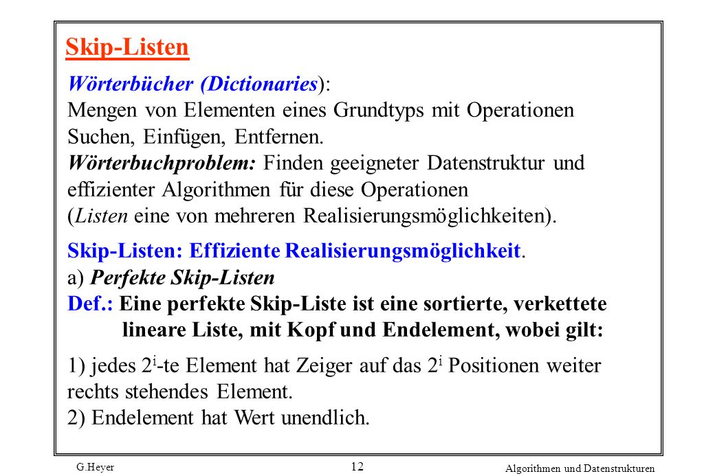Skip-Listen Wörterbücher (Dictionaries):