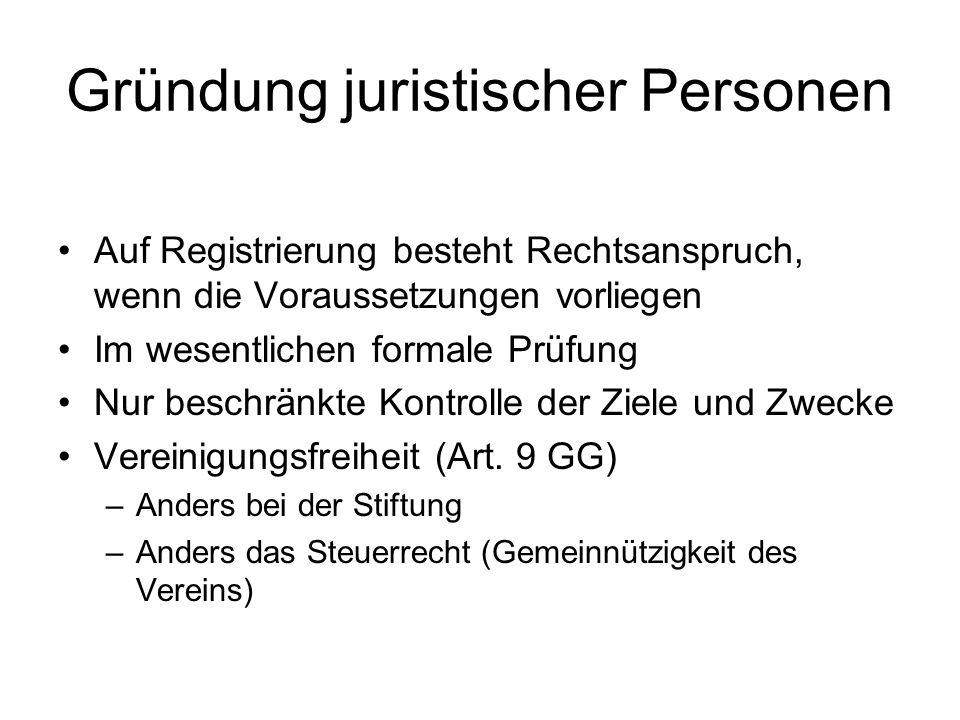 Gründung juristischer Personen