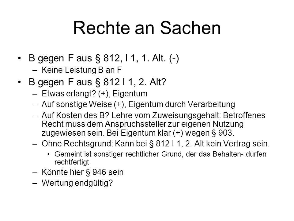 Rechte an Sachen B gegen F aus § 812, I 1, 1. Alt. (-)