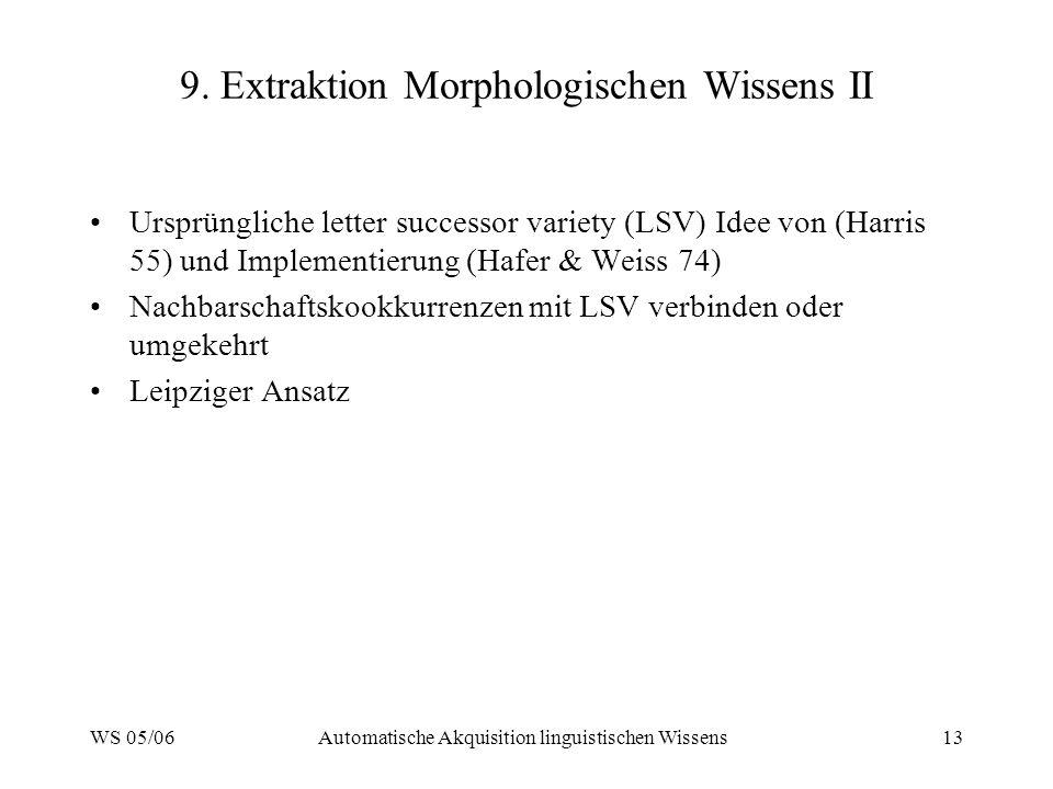9. Extraktion Morphologischen Wissens II