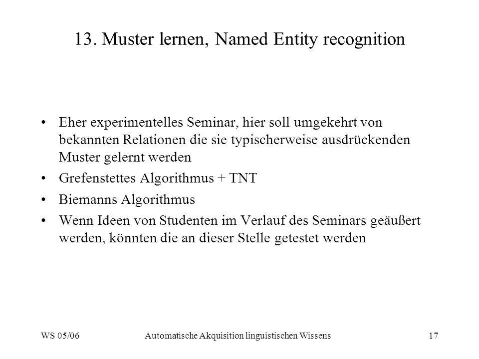 13. Muster lernen, Named Entity recognition