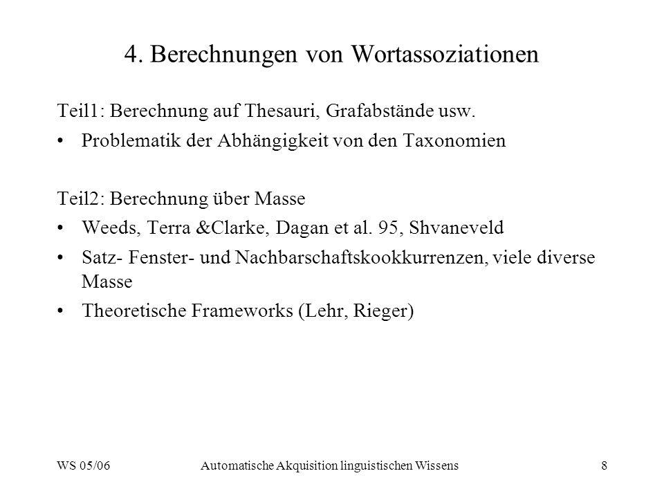4. Berechnungen von Wortassoziationen