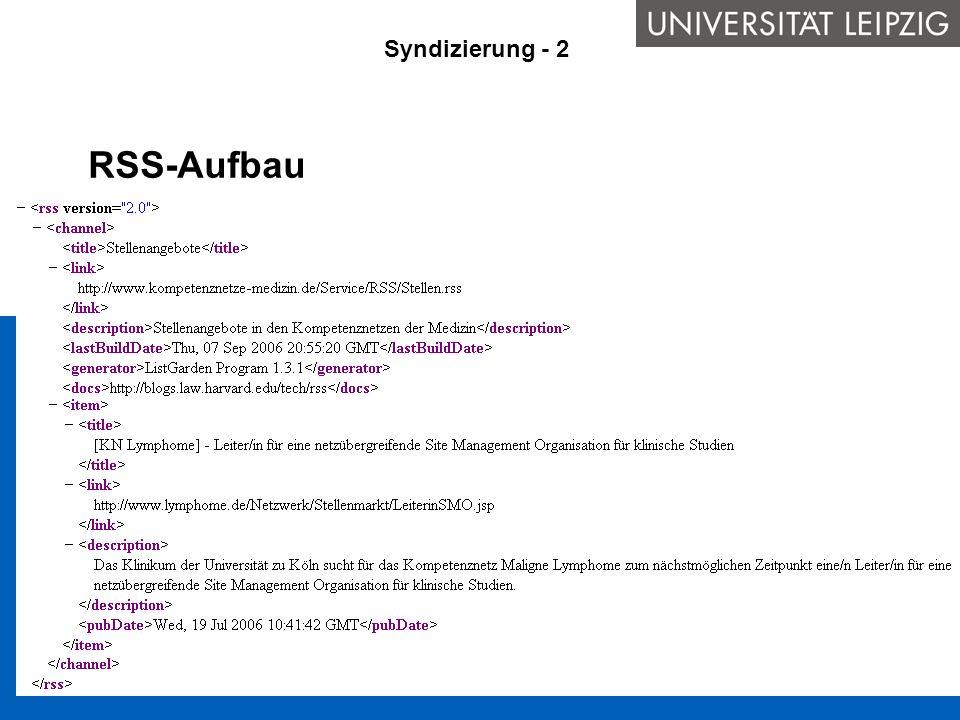 RSS-Aufbau Syndizierung - 2