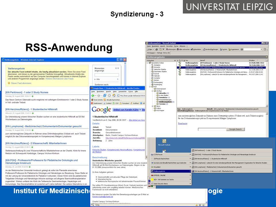 RSS-Anwendung Syndizierung - 3 Anwendungsbeispiele für RSS:
