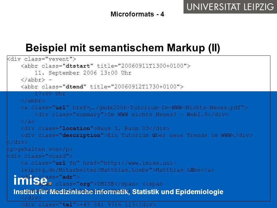 Beispiel mit semantischem Markup (II)