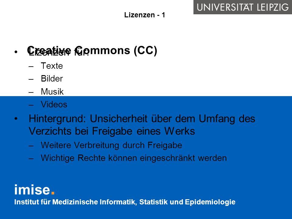 Creative Commons (CC) Lizenzen für: