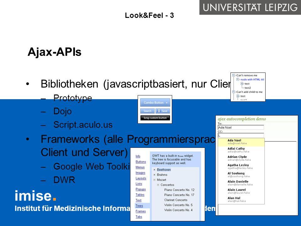 Ajax-APIs Bibliotheken (javascriptbasiert, nur Client)