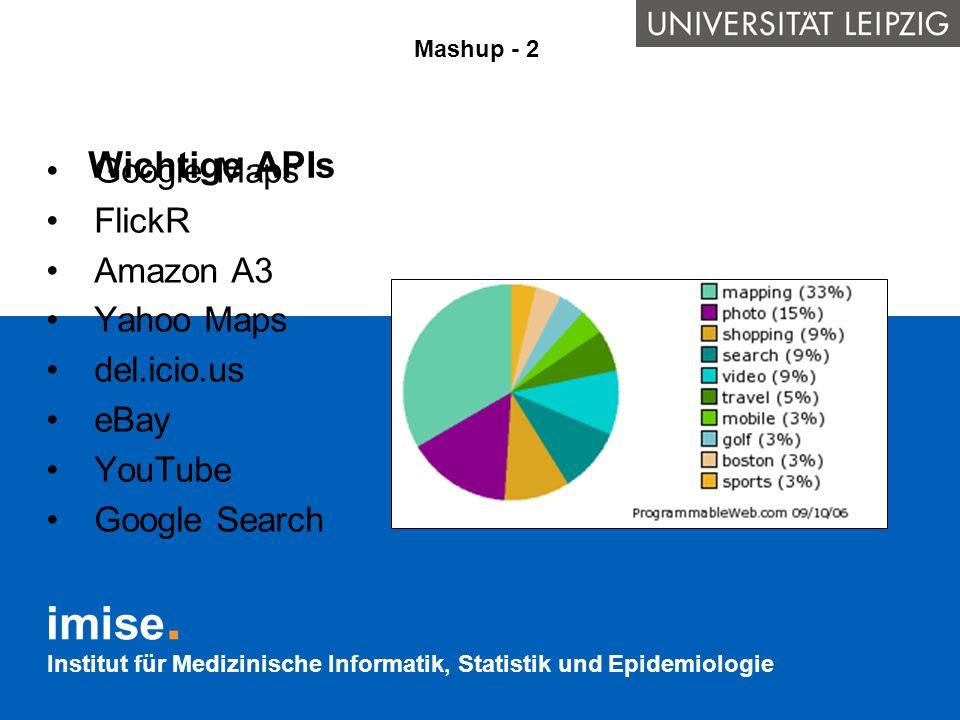 Wichtige APIs Google Maps FlickR Amazon A3 Yahoo Maps del.icio.us eBay