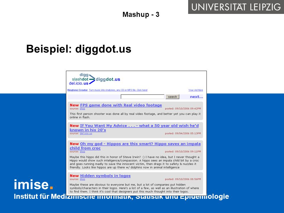 Beispiel: diggdot.us Mashup - 3 Verknüpfung aus: