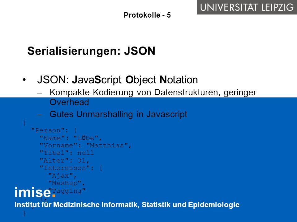 Serialisierungen: JSON