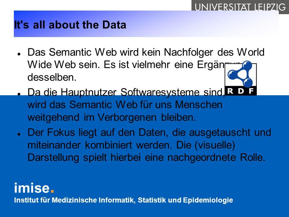 It s all about the Data Das Semantic Web wird kein Nachfolger des World Wide Web sein. Es ist vielmehr eine Ergänzung desselben.