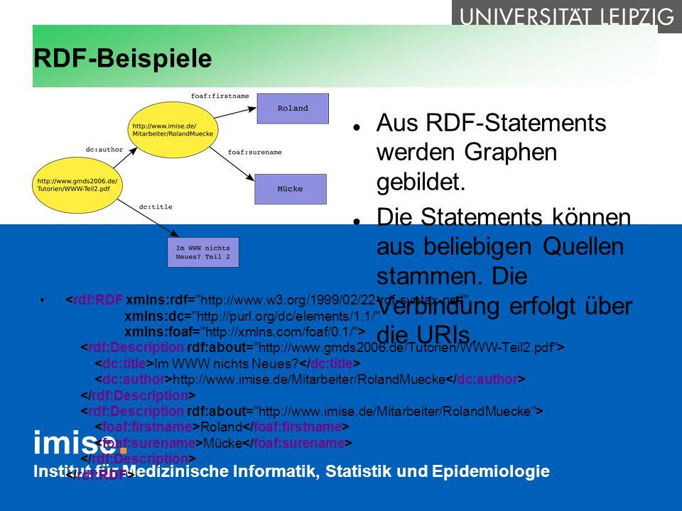 RDF-Beispiele Aus RDF-Statements werden Graphen gebildet.