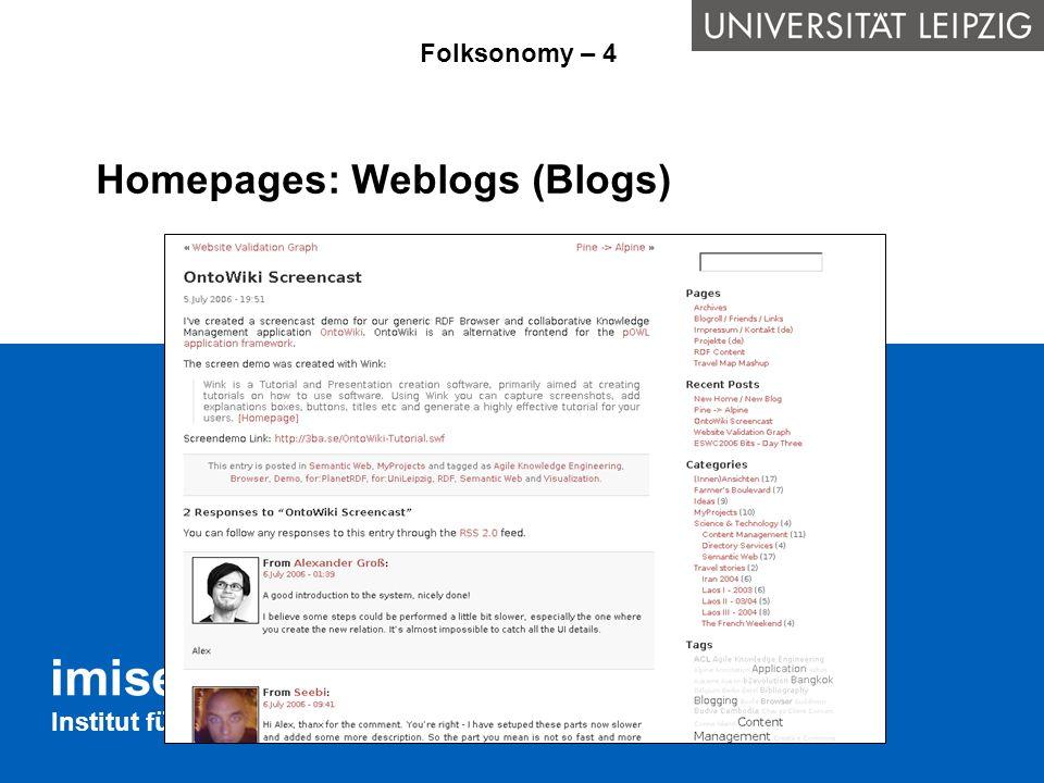 Homepages: Weblogs (Blogs)