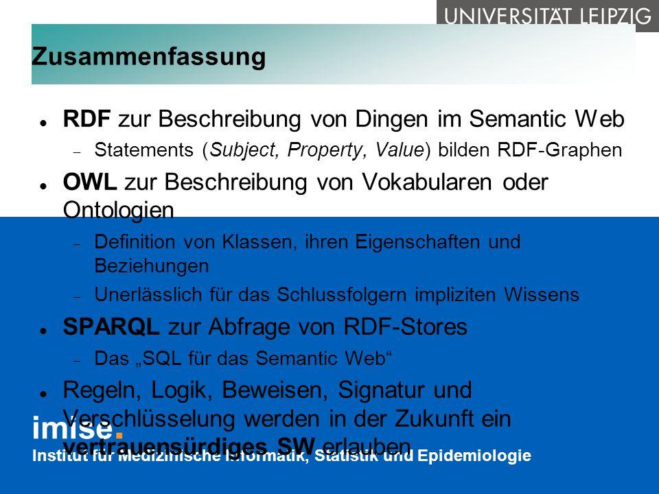 Zusammenfassung RDF zur Beschreibung von Dingen im Semantic Web