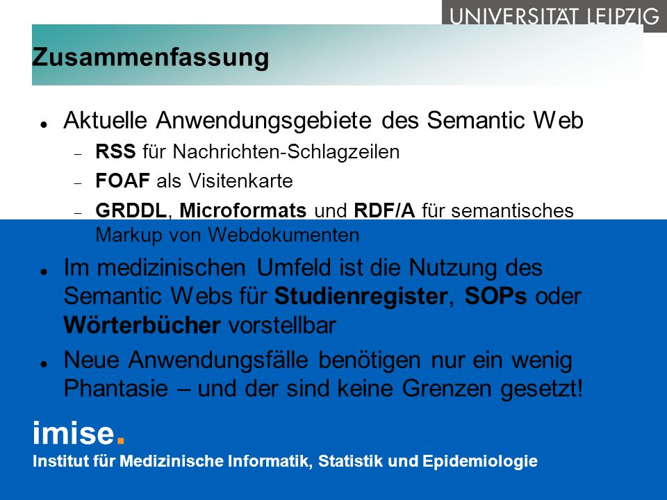 Zusammenfassung Aktuelle Anwendungsgebiete des Semantic Web
