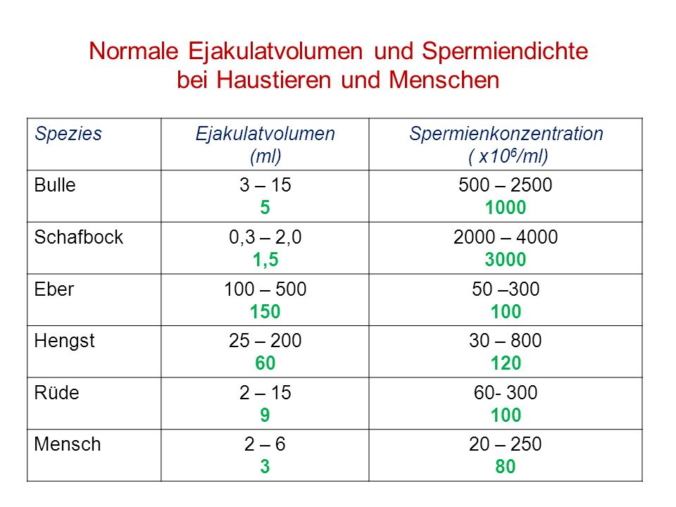 Normale Ejakulatvolumen und Spermiendichte bei Haustieren und Menschen