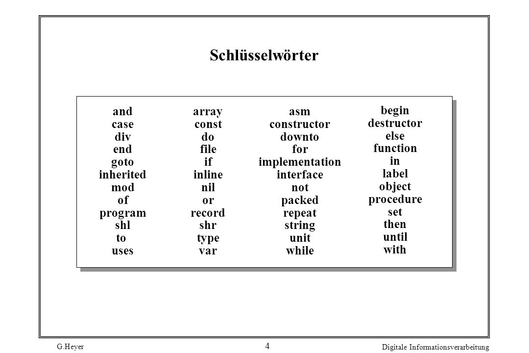 Schlüsselwörter and case div end goto inherited mod of program shl to