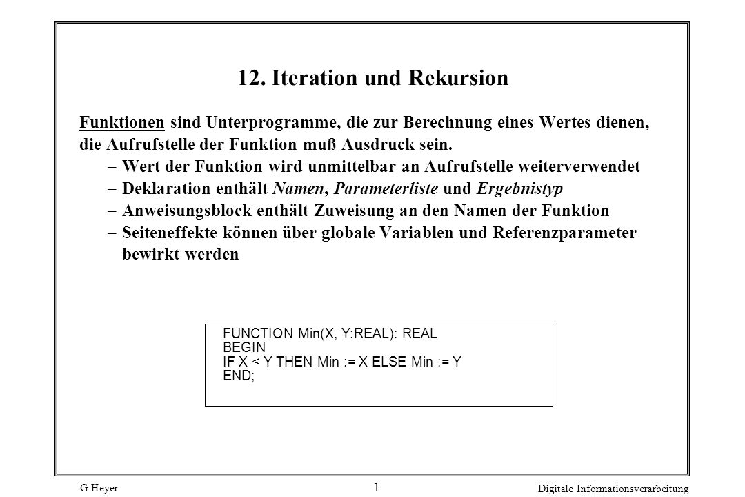 12. Iteration und Rekursion