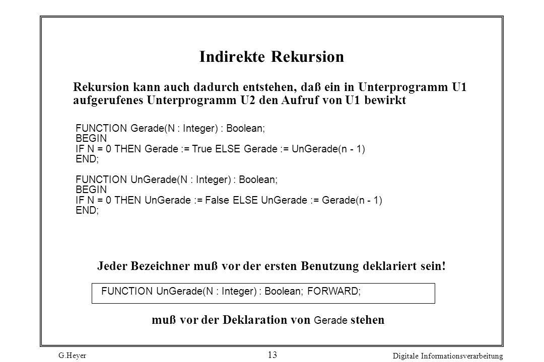Indirekte Rekursion Rekursion kann auch dadurch entstehen, daß ein in Unterprogramm U1. aufgerufenes Unterprogramm U2 den Aufruf von U1 bewirkt.