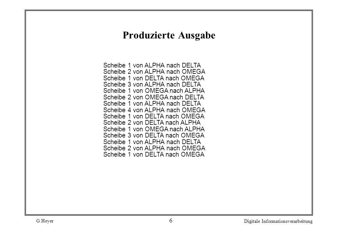 Produzierte Ausgabe Scheibe 1 von ALPHA nach DELTA