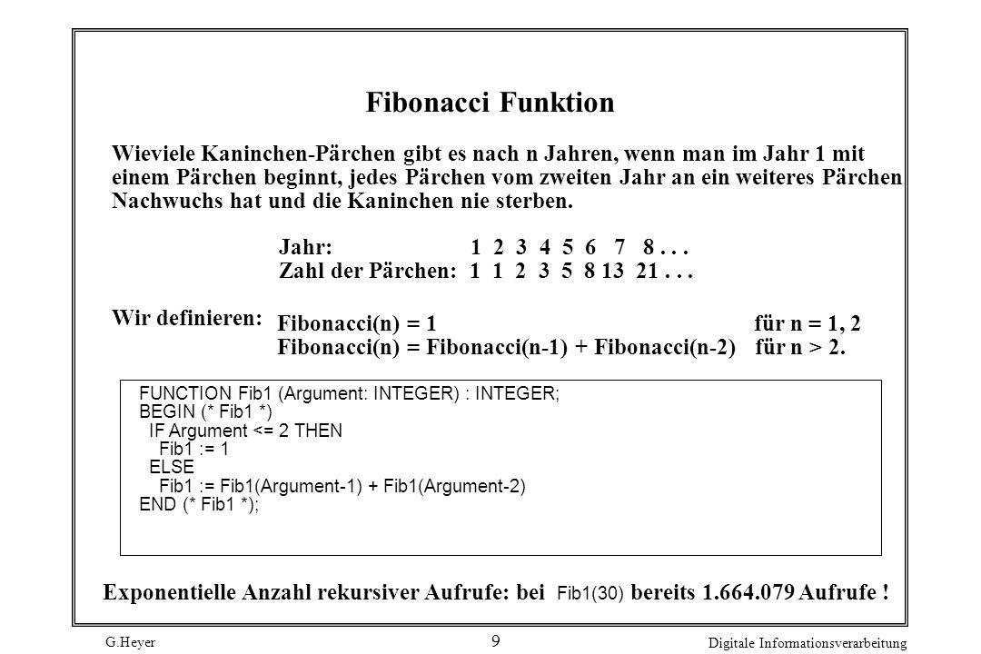 Fibonacci Funktion Wieviele Kaninchen-Pärchen gibt es nach n Jahren, wenn man im Jahr 1 mit.