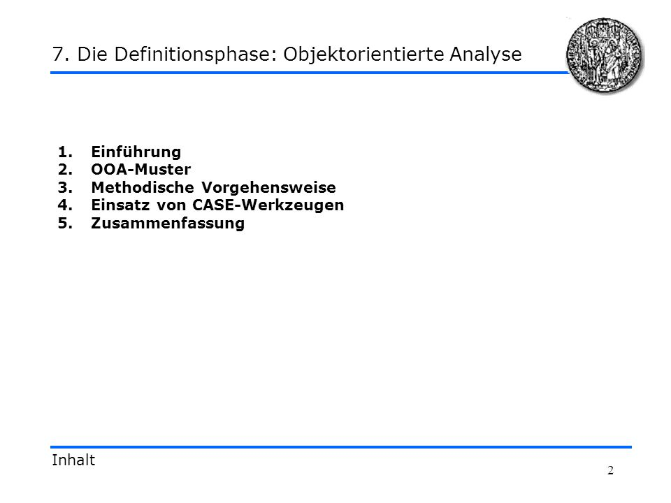 7. Die Definitionsphase: Objektorientierte Analyse