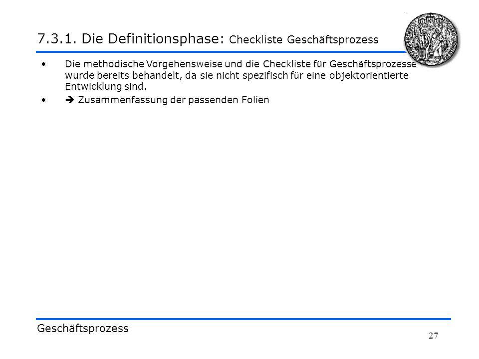7.3.1. Die Definitionsphase: Checkliste Geschäftsprozess