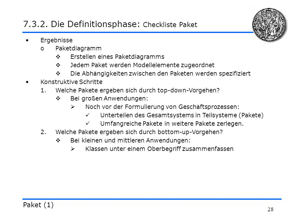 7.3.2. Die Definitionsphase: Checkliste Paket