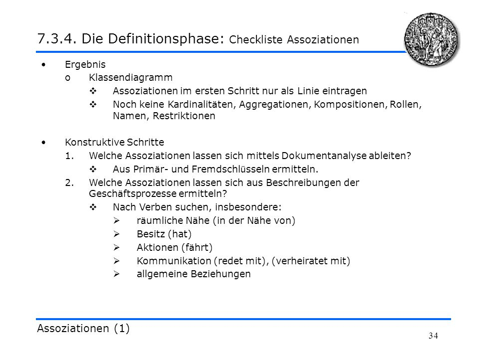 7.3.4. Die Definitionsphase: Checkliste Assoziationen