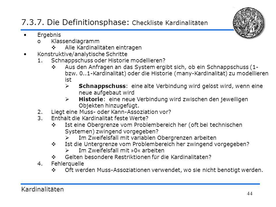 7.3.7. Die Definitionsphase: Checkliste Kardinalitäten