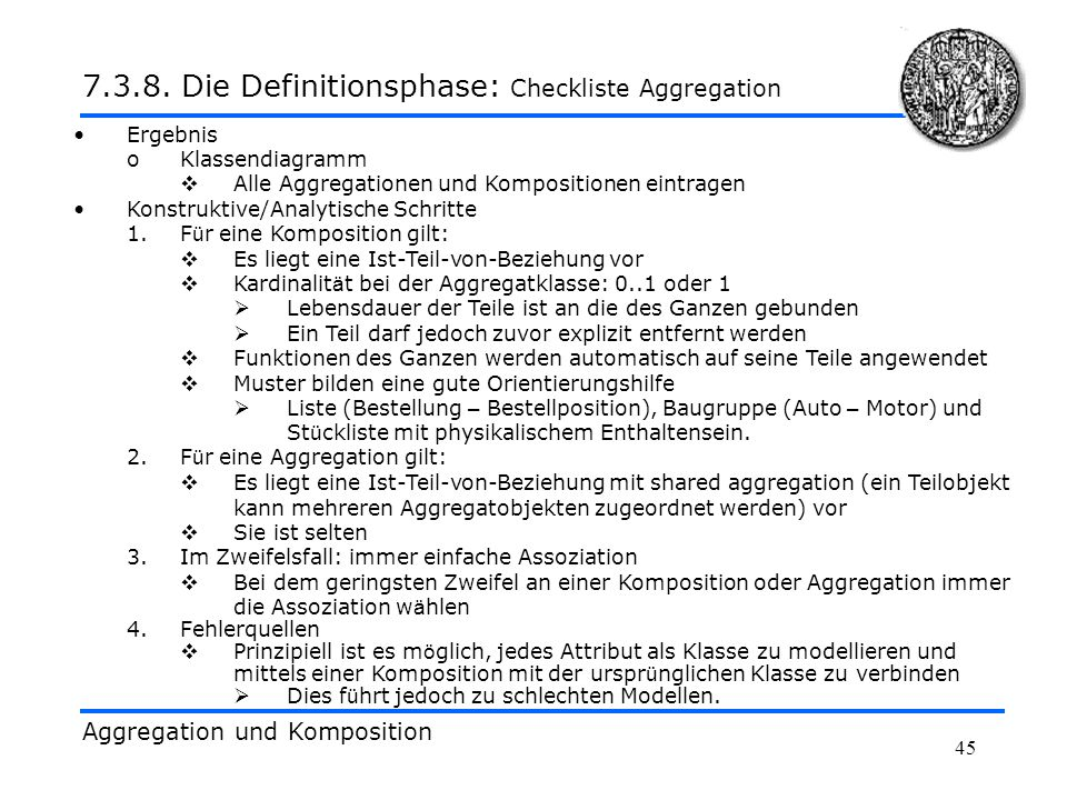 7.3.8. Die Definitionsphase: Checkliste Aggregation
