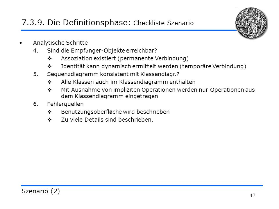 7.3.9. Die Definitionsphase: Checkliste Szenario