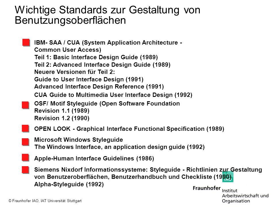 Wichtige Standards zur Gestaltung von Benutzungsoberflächen
