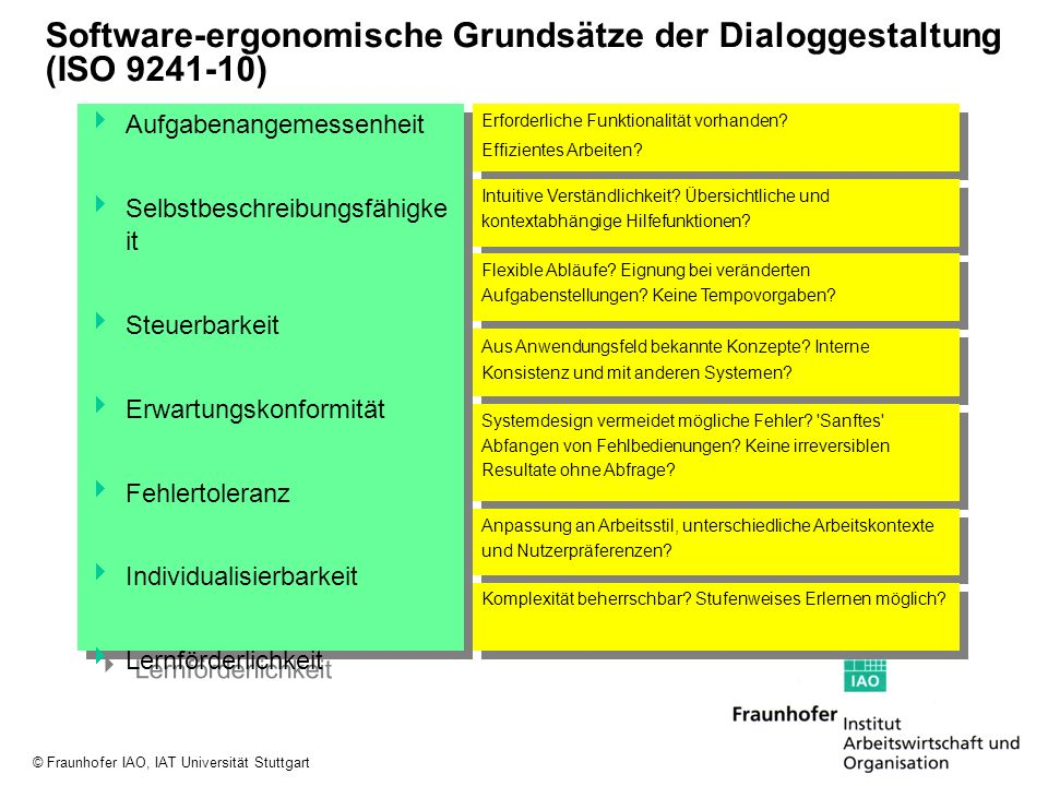 Software-ergonomische Grundsätze der Dialoggestaltung (ISO 9241-10)