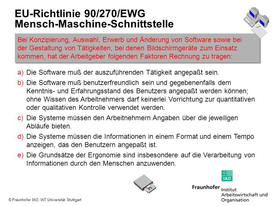 EU-Richtlinie 90/270/EWG Mensch-Maschine-Schnittstelle