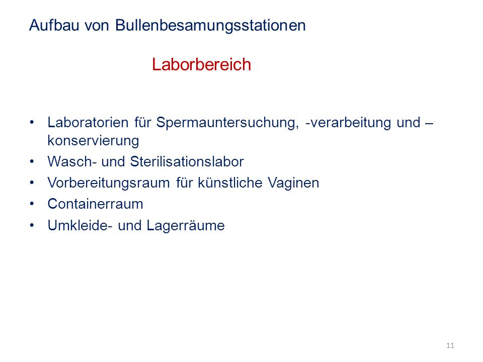 Aufbau von Bullenbesamungsstationen Laborbereich