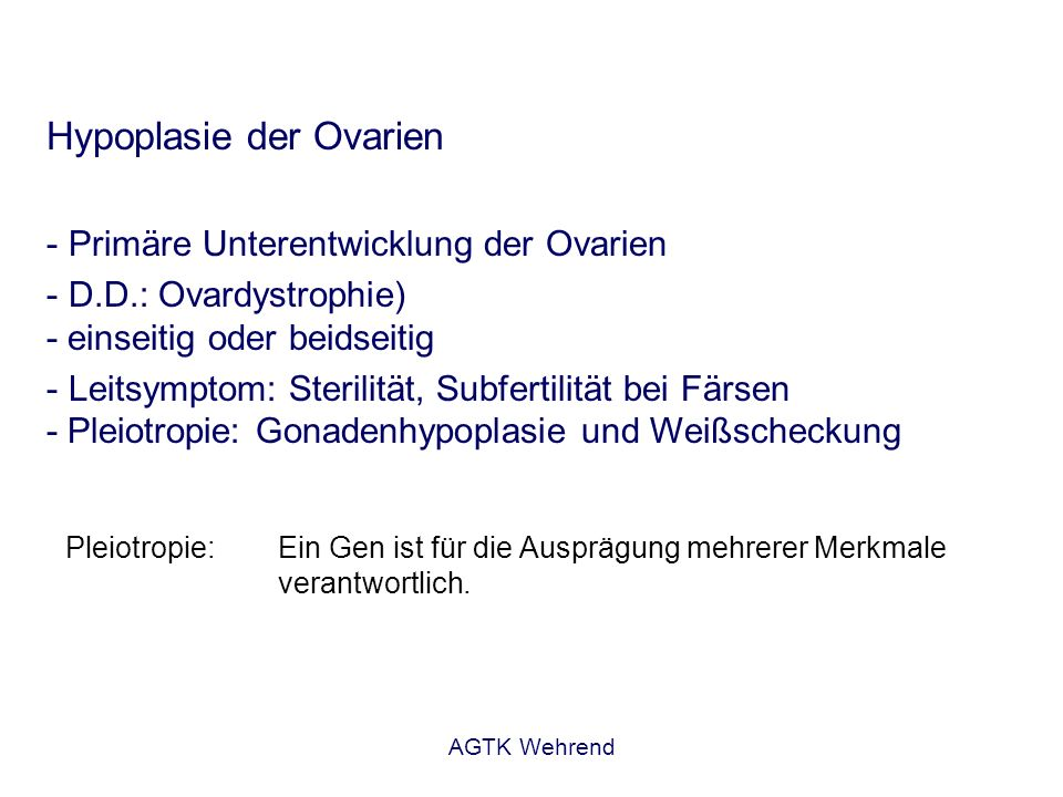 Hypoplasie der Ovarien