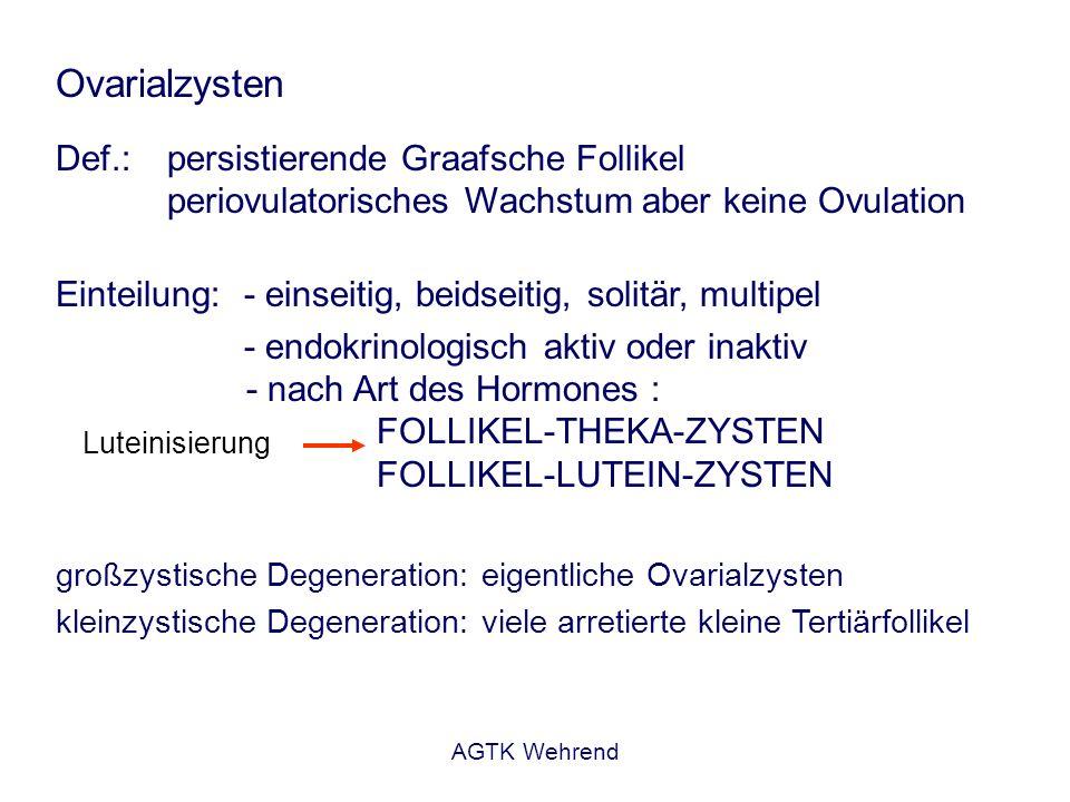 Ovarialzysten Def.: persistierende Graafsche Follikel periovulatorisches Wachstum aber keine Ovulation.