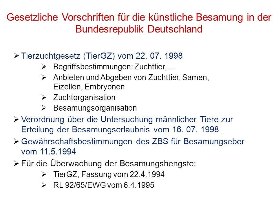 Gesetzliche Vorschriften für die künstliche Besamung in der Bundesrepublik Deutschland