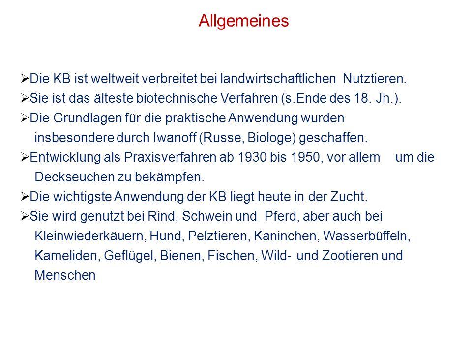 Allgemeines Die KB ist weltweit verbreitet bei landwirtschaftlichen Nutztieren. Sie ist das älteste biotechnische Verfahren (s.Ende des 18. Jh.).